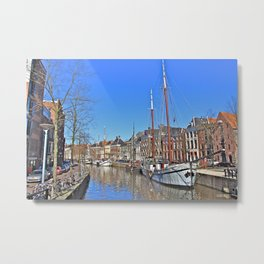 Tall Ship on the Canal Metal Print