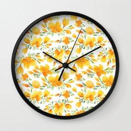 Watercolor california poppies bouquet Wall Clock