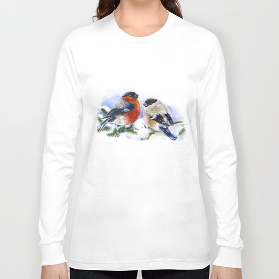 Bullfinches in winter time. Christmas Watercolor Art Long Sleeve T-shirt
