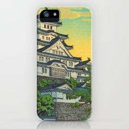 Kawase Hasui Vintage Japanese Woodblock Print Himeji Castle iPhone Case