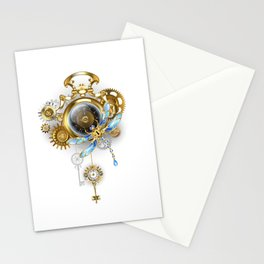 Steampunk Clock with Mechanical Dragonfly Stationery Cards