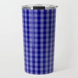 Navy Blue Gingham Check Plaid Pattern Travel Mug