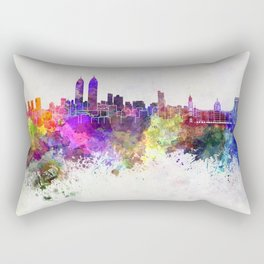 Mumbai skyline in watercolor background Rectangular Pillow