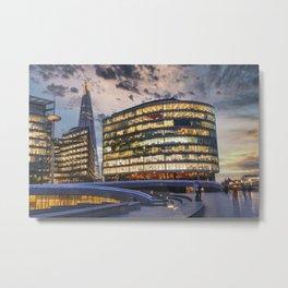Amazing London skyline, Sunset forms Silhouette of Thames sidewalk Metal Print