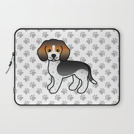 Cute Blue Ticked Beagle Dog Cartoon Illustration Laptop Sleeve