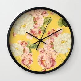 Flora temptation - sunny mustard Wall Clock