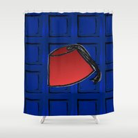 fez Shower Curtains featuring Fez on Blue by Bohemian Bear by Kristi Duggins