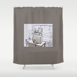Up Up Down Down Left Right Left Right B A Start -- Greyscale Shower Curtain