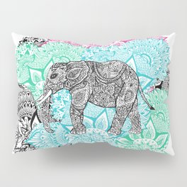 Boho paisley elephant handdrawn pastel floral Pillow Sham