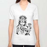 ganesh V-neck T-shirts featuring Ganesh by ShivaR