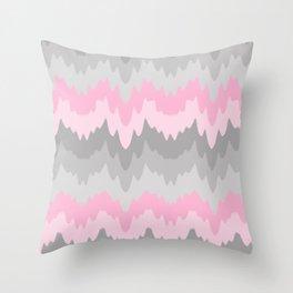 Pink Grey Gray Ombre Chevron Camo  Throw Pillow