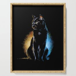 Dramatic Black Cat Pastel Drawing -  Good and Evil Serving Tray