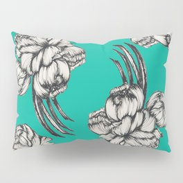Inked Peonies in Turquoise Pattern Pillow Sham