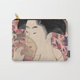 Japanese Woman Holding a Comb, Kushi by Kitagawa Utamaro Carry-All Pouch