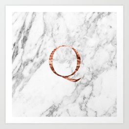 Monogram rose gold marble Q Art Print