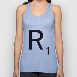 Letter R - Custom Scrabble Letter Tile Art - Scrabble R Initial Unisex Tank Top
