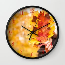 Acer autumn bunch yellow red leaves Wall Clock