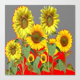 WESTERN STYLE  GREY-RED COLOR YELLOW SUNFLOWERS Canvas Print