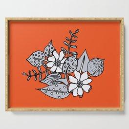Orangey Gray Floral Serving Tray
