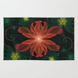 Beautiful Shining Red-Green Fractal Passion Flower Rug