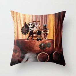 Cute little steampunk friends Throw Pillow