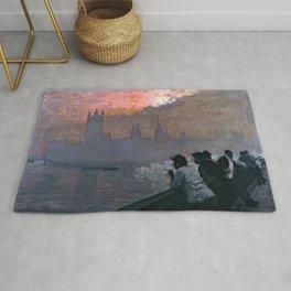 Westminster by Giuseppe de Nittis - Italian Fine Art Oil Painting Rug