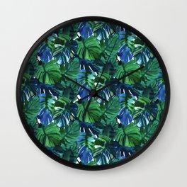 Palm Leaf Blue Green Wall Clock