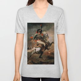 "Théodore Géricault ""Officer of the Chasseurs charging on horseback"" Unisex V-Neck"
