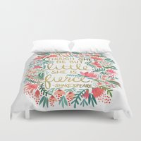people Duvet Covers featuring Little & Fierce by Cat Coquillette