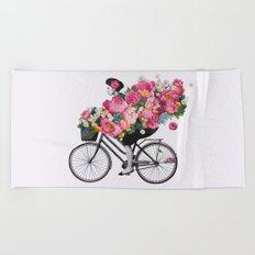 floral bicycle  Beach Towel