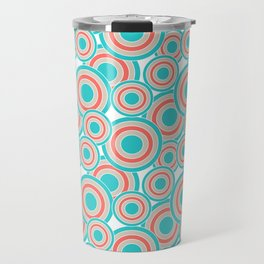Overlapping Circles in Coral, Turquoise and Tan Travel Mug