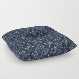 Traditional Indigo Blue Hand Drawn Portugal Floor Pillow