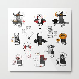 Horror Cats and mouses. Cute witch, vampire, angel and demon Metal Print