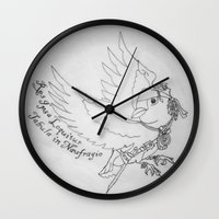 jack sparrow Wall Clocks featuring Captain Jack SPARROW by Evanne Deatherage