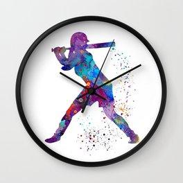 Girl Baseball Softball Batter Watercolour Sports Art Colorful Baseball Print Wall Clock