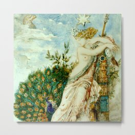 "Gustave Moreau ""The Peacock Complaining to Juno"" Metal Print"