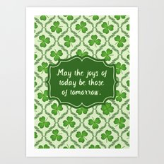 Irish Blessing Shamrocks Pattern Art Print