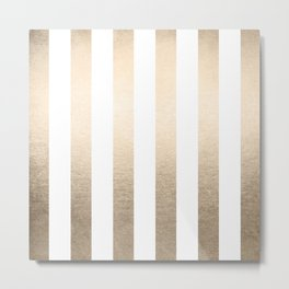 Simply Vertical Stripes in White Gold Sands Metal Print