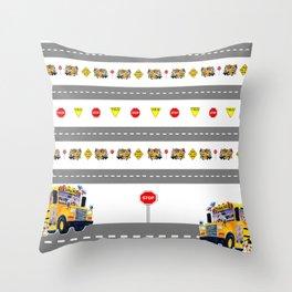 School Bus Fun Throw Pillow