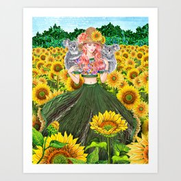 Koala, Sunflower Field Art Print