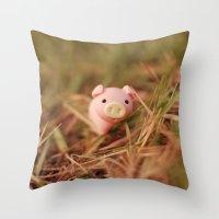 pig Throw Pillows featuring Pig by Natália Viana ♥