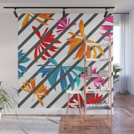 Colorful Tropic Leaves Lines Exotic Pattern Wall Mural