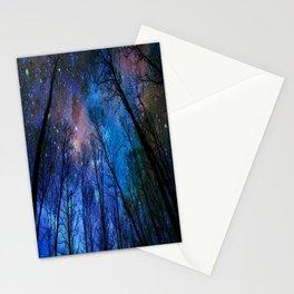 Black Trees Dark Blue Space Stationery Cards