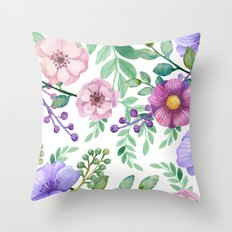 FLOWERS WATERCOLOR 13 Throw Pillow