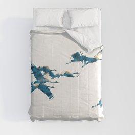 Beautiful Cranes in white background #decor #society6 #buyart Comforters