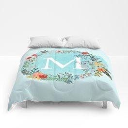 Personalized Monogram Initial Letter M Blue Watercolor Flower Wreath Artwork Comforters
