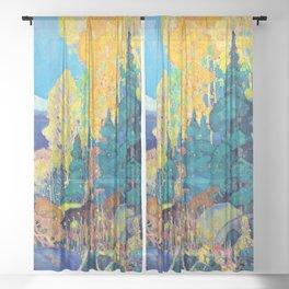 12,000pixel-500dpi - Franklin Carmichael - Autumn Hillside - Digital Remastered Edition Sheer Curtain