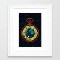 pocket Framed Art Prints featuring Cosmic Pocket Watch by badOdds