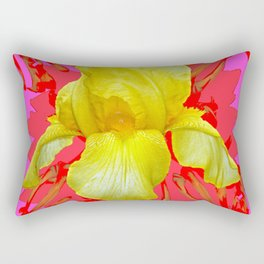 YELLOW IRIS MODERN ART RED FLORAL ABSTRACT Rectangular Pillow