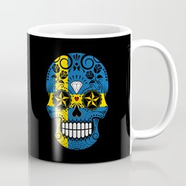 Sugar Skull with Roses and Flag of Sweden Coffee Mug